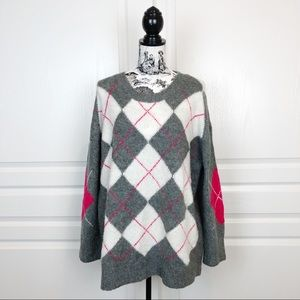 ZARA KNIT Oversized Argyle Print Sweater Gray